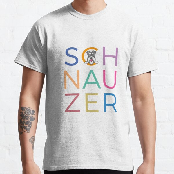 Multicoloured letters with salt and pepper schnauzer dog Classic T-Shirt