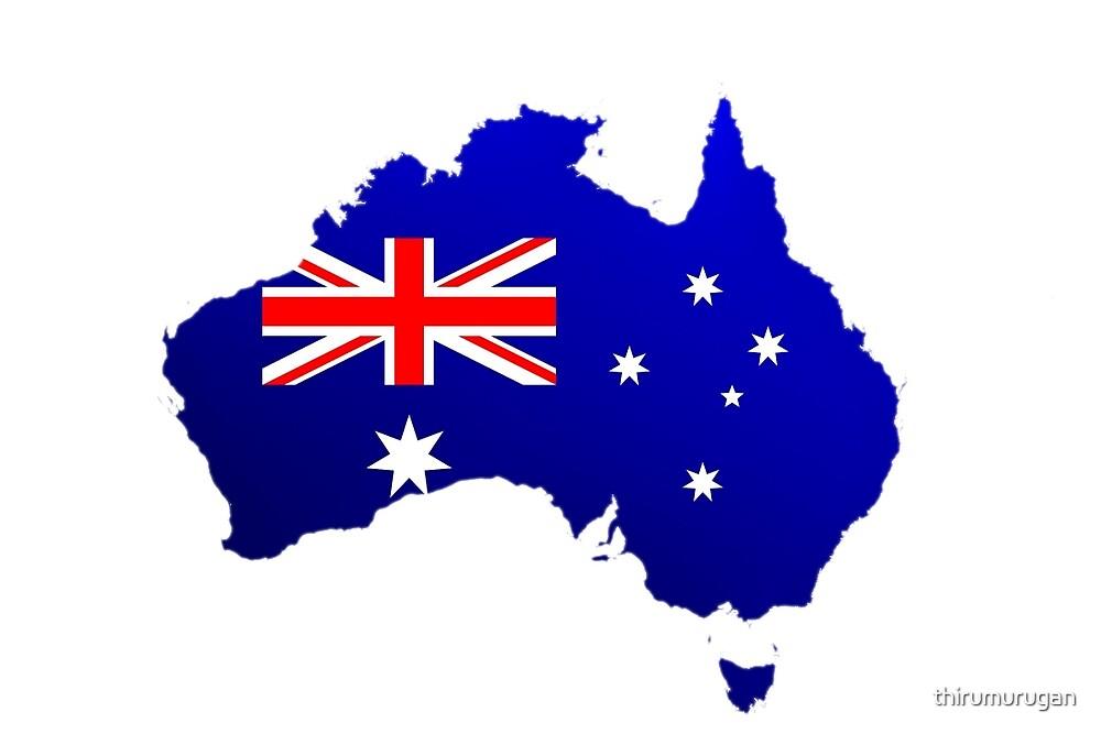 Australia Map with National Flag by Thiru Murugan