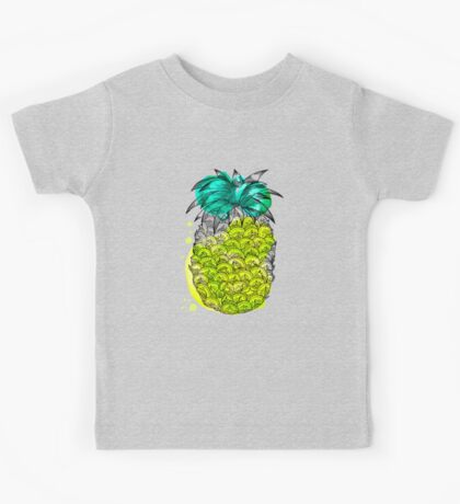 Juice pineapple. Hand drawn tropical fruit with watercolour splash Kids Clothes