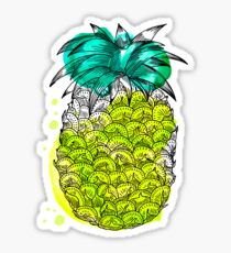 Juice pineapple. Hand drawn tropical fruit with watercolour splash Sticker