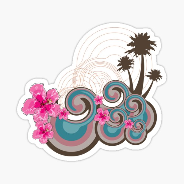 Tropical Summer Waves, Palm Trees And Fuchsia Hot Pink Hibiscus Sticker
