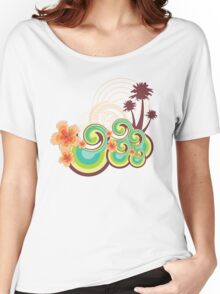 Tropical Beach Waves & Tangerine Orange Hibiscus Women's Relaxed Fit T-Shirt
