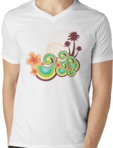 Tropical Beach Waves & Tangerine Orange Hibiscus Mens V-Neck T-Shirt