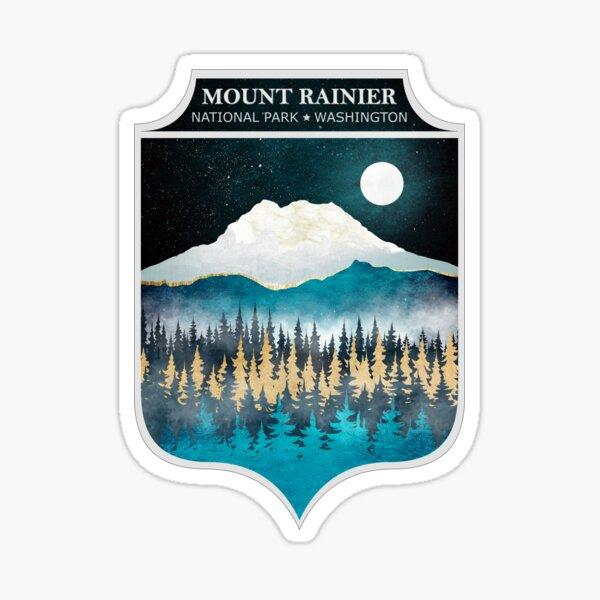 Mount Rainier - Texturized Winter Landscape Sticker