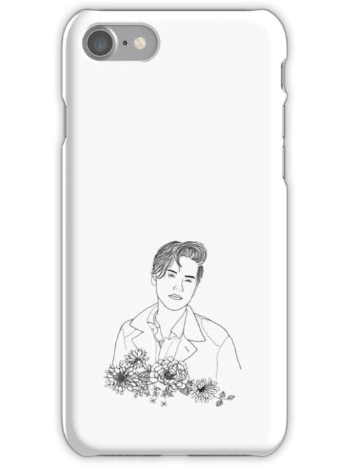 Quot Cole Sprouse Outline Drawing With Flowers Quot Iphone Cases