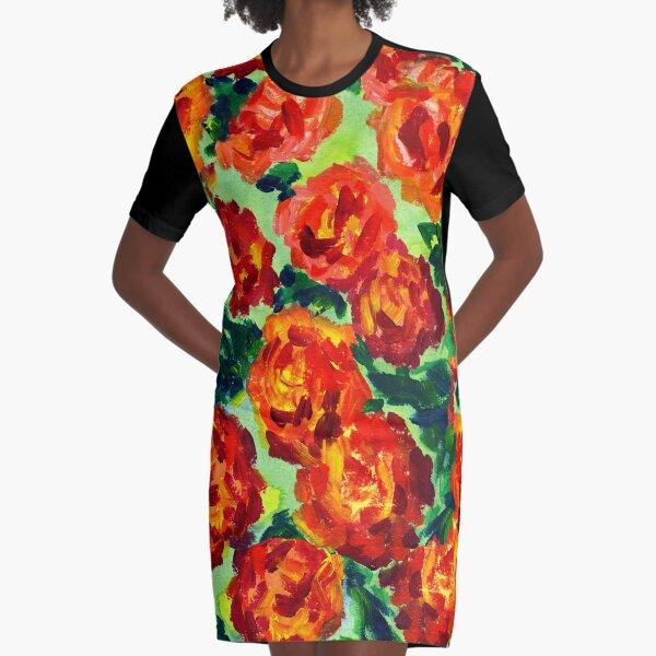 Vibrant Orange Peonies Green Leaves Acrylic Painting Graphic T-Shirt Dress