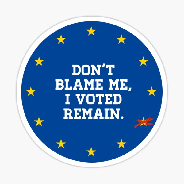 Don't Blame me, I voted Remain Sticker