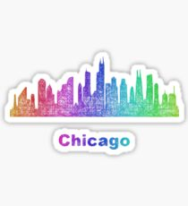 Rainbow Chicago skyline Sticker