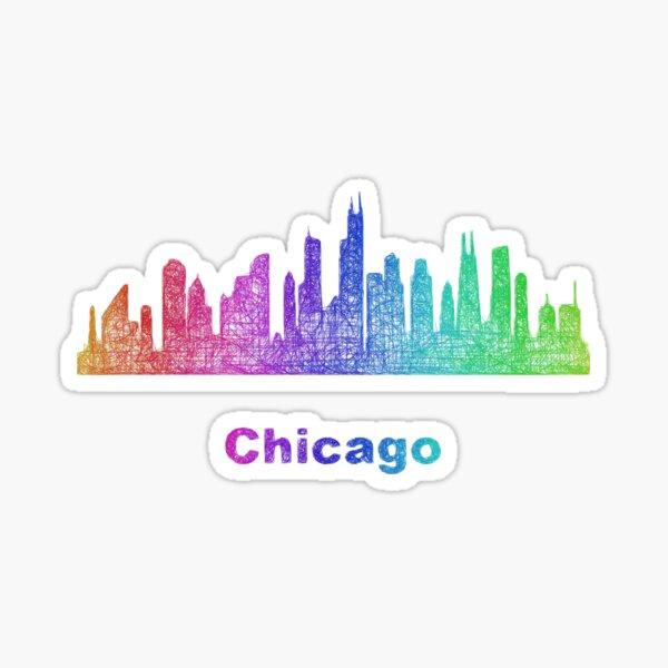 Rainbow Chicago skyline Sticker