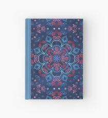 Cherry Red & Navy Blue Watercolor Floral Pattern Hardcover Journal