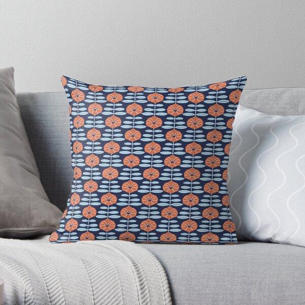 Navy poppies Throw Pillow