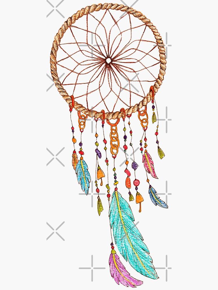 Geronimo Apache Warrior legend round dream catcher with feathers  sticker