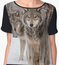 Timber Wolf Pair Chiffon Top