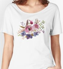 Burgundy Blue Watercolor Flower Bouquet Women's Relaxed Fit T-Shirt