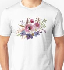 Burgundy Blue Watercolor Flower Bouquet Unisex T-Shirt