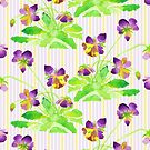 Watercolor Pansies Purple Yellow Lavender Stripes Pattern by Beverly Claire Kaiya