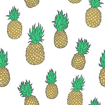 Summer Pineapples on White by carabara