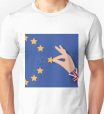Brexit UK hand removing star from EU flag leaving just stitches behind T-Shirt