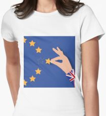 Brexit UK hand removing star from EU flag leaving just stitches behind Women's Fitted T-Shirt