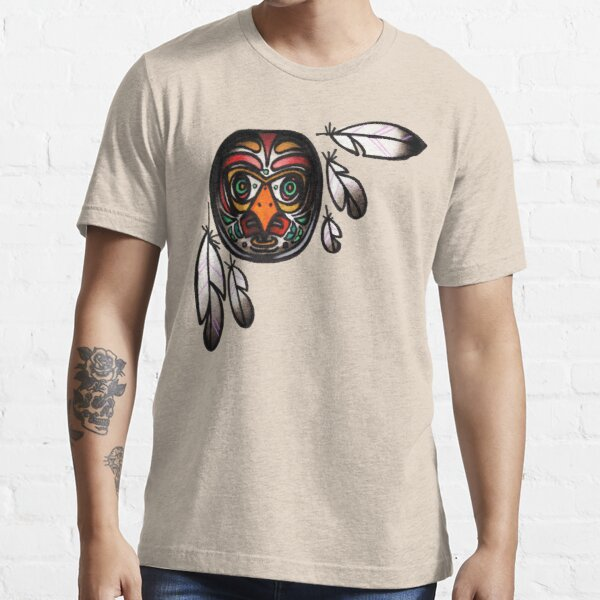 northwest native, haida inspired owl mask with feathers, tattoo art shirt Essential T-Shirt