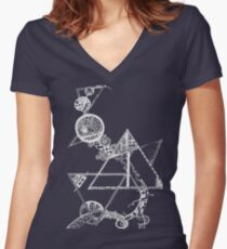 Time and space (white design) Women's Fitted V-Neck T-Shirt