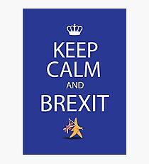 Keep calm and Brexit EU star walking away carrying UK flag Photographic Print
