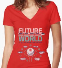 Vintage EPCOT Center Future World Map Women's Fitted V-Neck T-Shirt