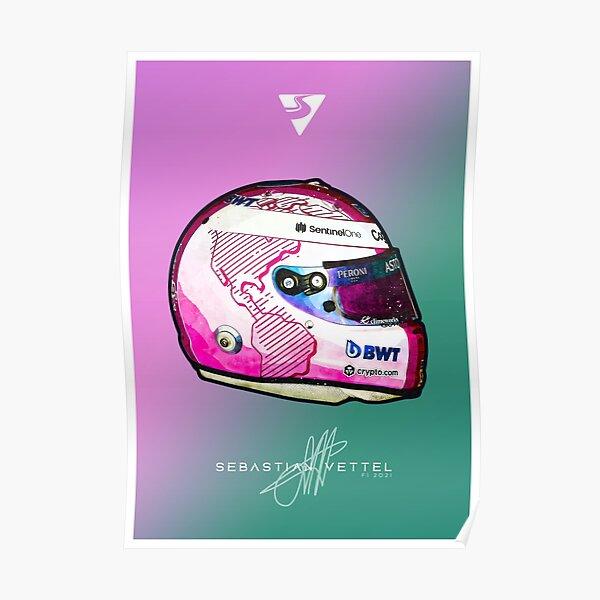 F1 2021 Sebastian Vettel Aston Martin Crashhelm Kunstwerk Poster