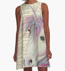 Unicorn Moon Dictionary Book art A-Line Dress