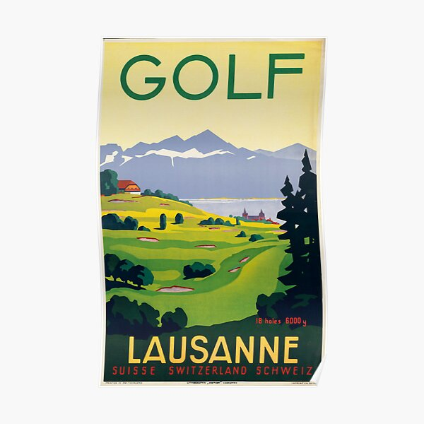 TT70 Vintage Lausanne Ouchy Swiss Switzerland Travel Poster Re-Print A4