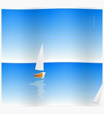 Boat on Calm Blue Sea - Yellow Boat Poster