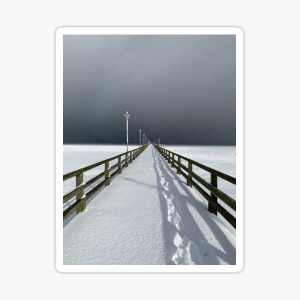 Ahlbeck pier in ice and light, Usedom Sticker