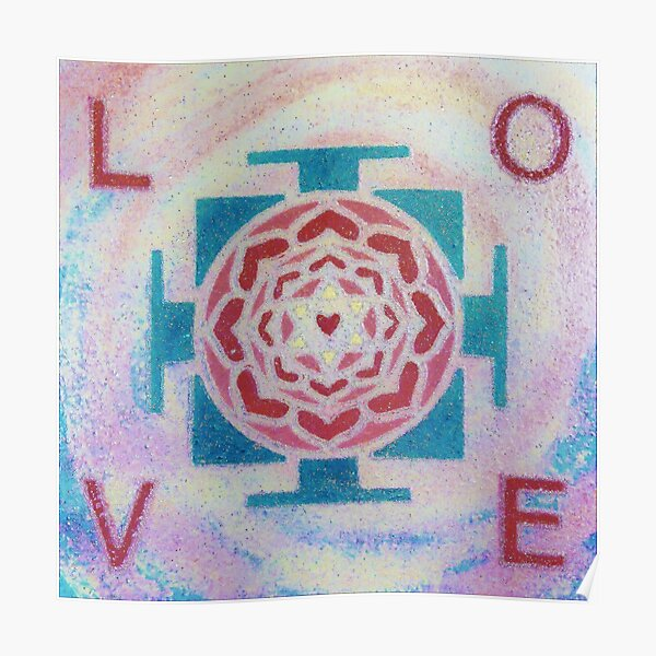 LOVE MANDALA #5 (Yantra with Letters) - Yoga Art Design - scroll down Poster
