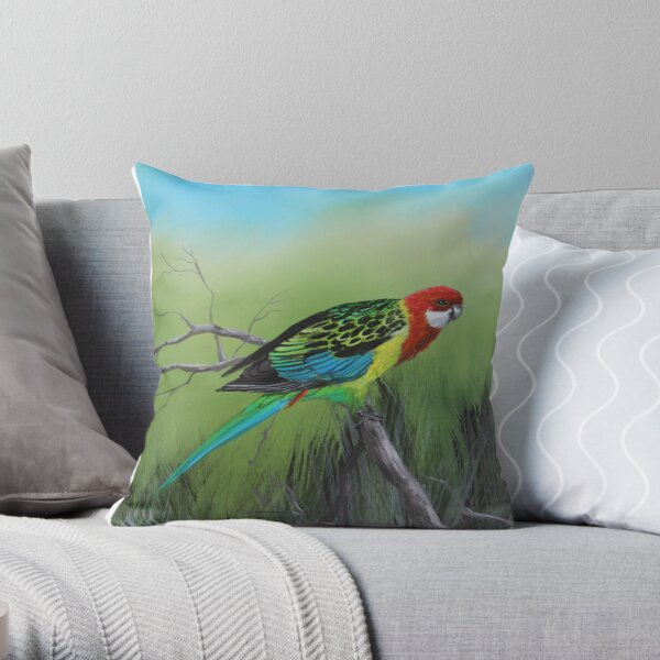 Eastern Rosella Throw Pillow