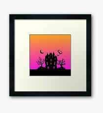 Haunted Silhouette Rainbow Mansion Framed Print
