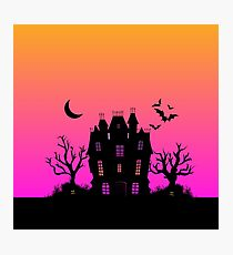 Haunted Silhouette Rainbow Mansion Photographic Print