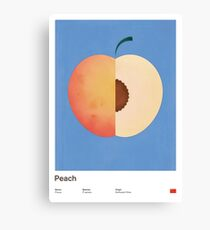 Peach (blue) - Natural History Fruits Canvas Print