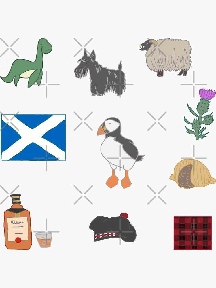 Cute Scottish Icons Pattern Design by MariOyama