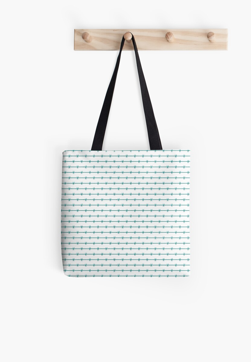 Aqua Blue Barbed Wire Wedding Gift Fence Tote Bags By Podartist