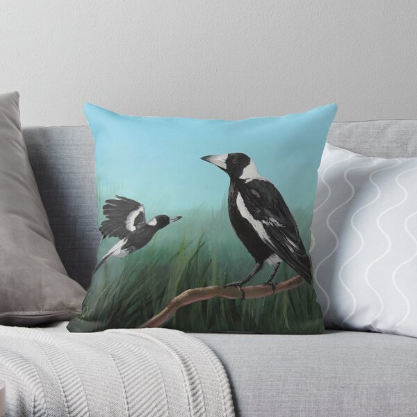Australian Magpies Throw Pillow