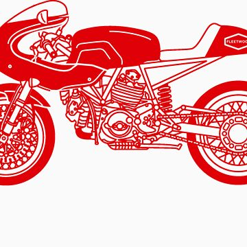 Retro Cafe Racer Bike - Red by superleggera