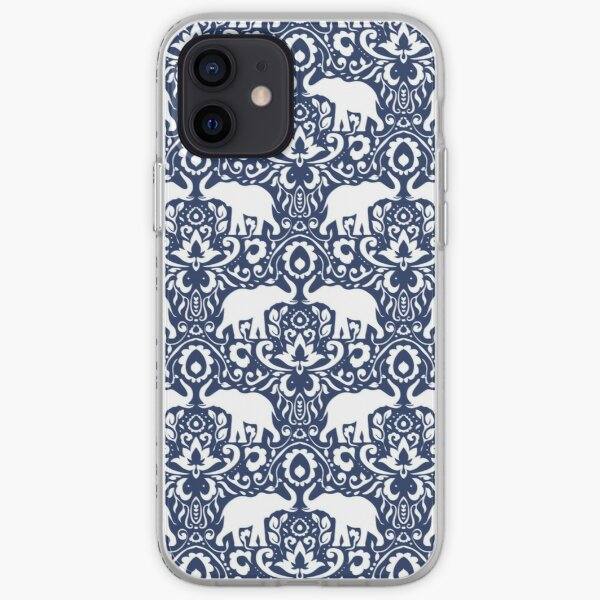 Elephant Damask Indigo iPhone Soft Case