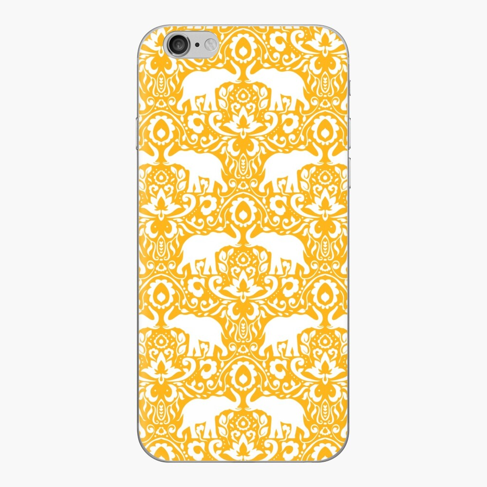 Elephant Damask Tangerine iPhone Klebefolie