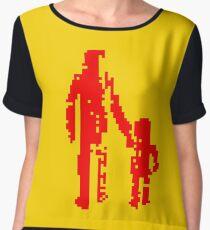 1 bit pixel pedestrians (red) Chiffon Top