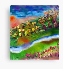 Whimsical Sunset by Roger Pickar, Goofy America Canvas Print