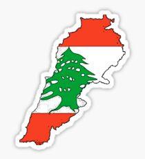 Lebanon Map With Lebanese Flag Sticker