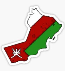 Oman Map With Omani Flag Sticker