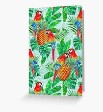 Pineapples and Parrots Tropical Summer Pattern Greeting Card