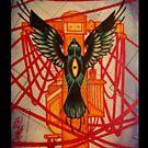 bird flying over phone lines by resonanteye