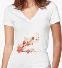 Cherry blossom II Women's Fitted V-Neck T-Shirt